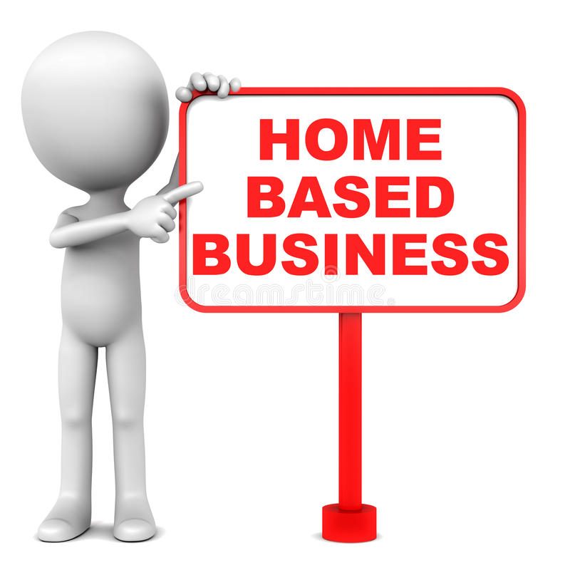 Home based business. Word on a board, with little man standing by and pointing towards the text in red vector illustration