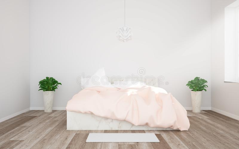 home bedroom interior with pink duvet stock photography