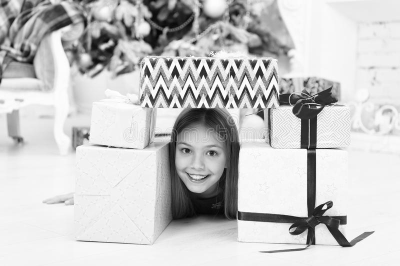 Home is the best place in the world. The morning before Xmas. Little girl. Happy new year. Winter. xmas online shopping. Family holiday. Christmas tree and stock photography