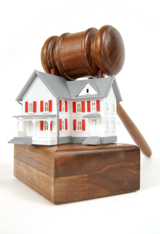 Home bid. Home on an auction block; foreclosure, bankruptcy, etc stock photos