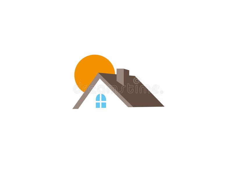 Home and big sun house for logo. Design illustration, architecture icon royalty free illustration