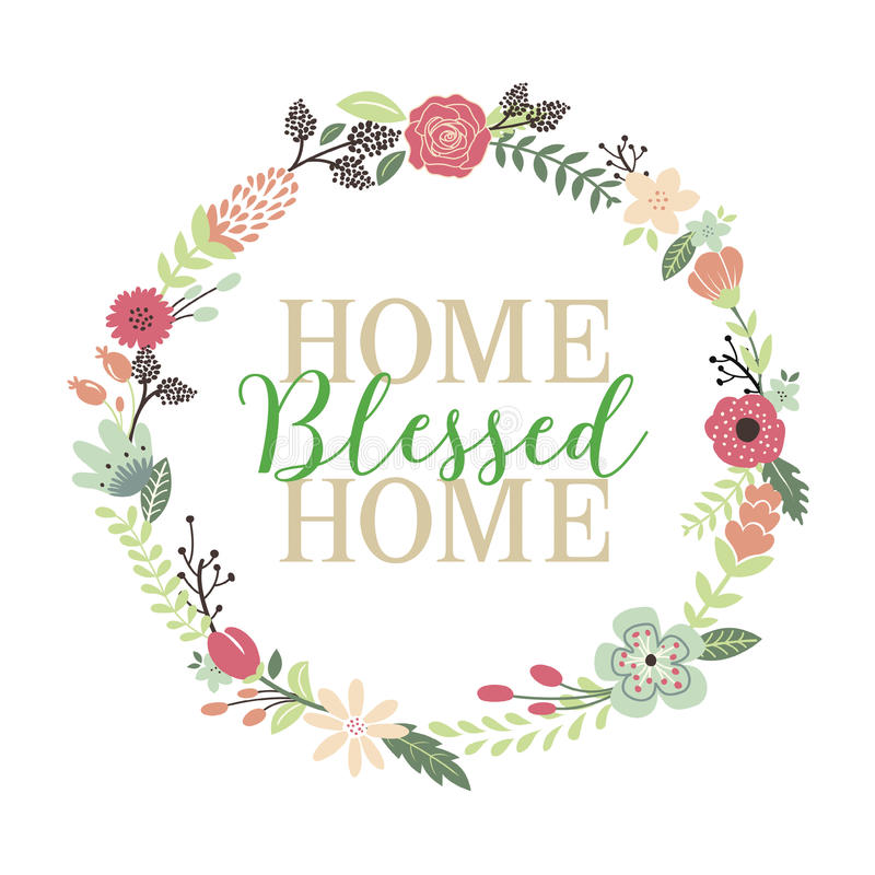 Home Blessed Home Typographic Art Print. Design for Christian Home with Colorful Floral Wreath Border royalty free illustration