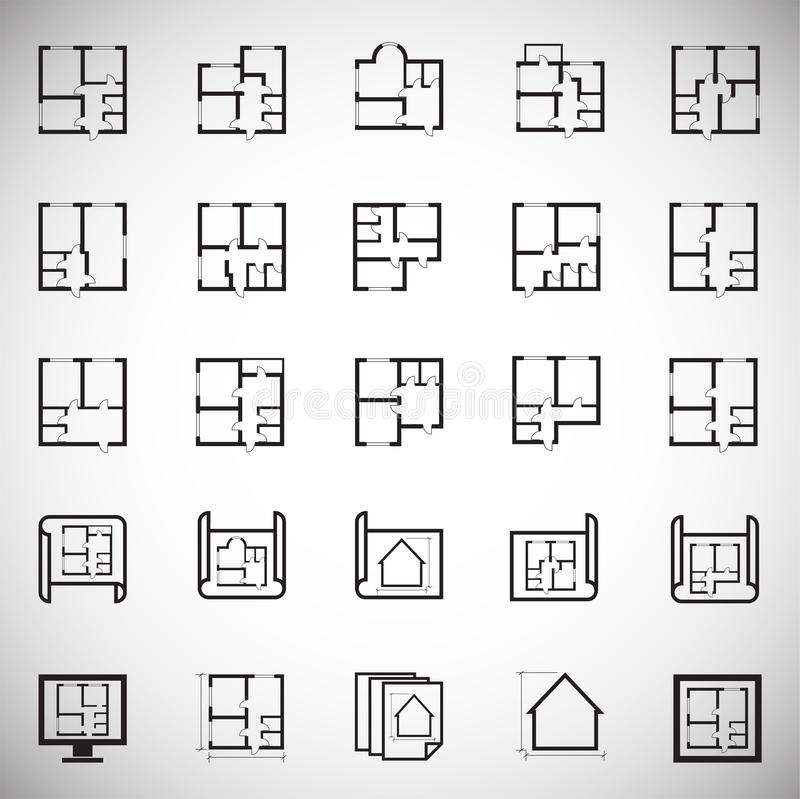 Home blueprint icon on white background for graphic and web design. Simple vector sign. Internet concept symbol for stock illustration