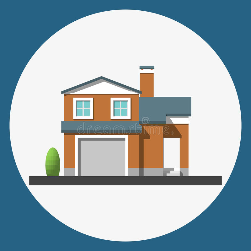 Home building flat icon. Family suburban home. Vector illustration royalty free illustration