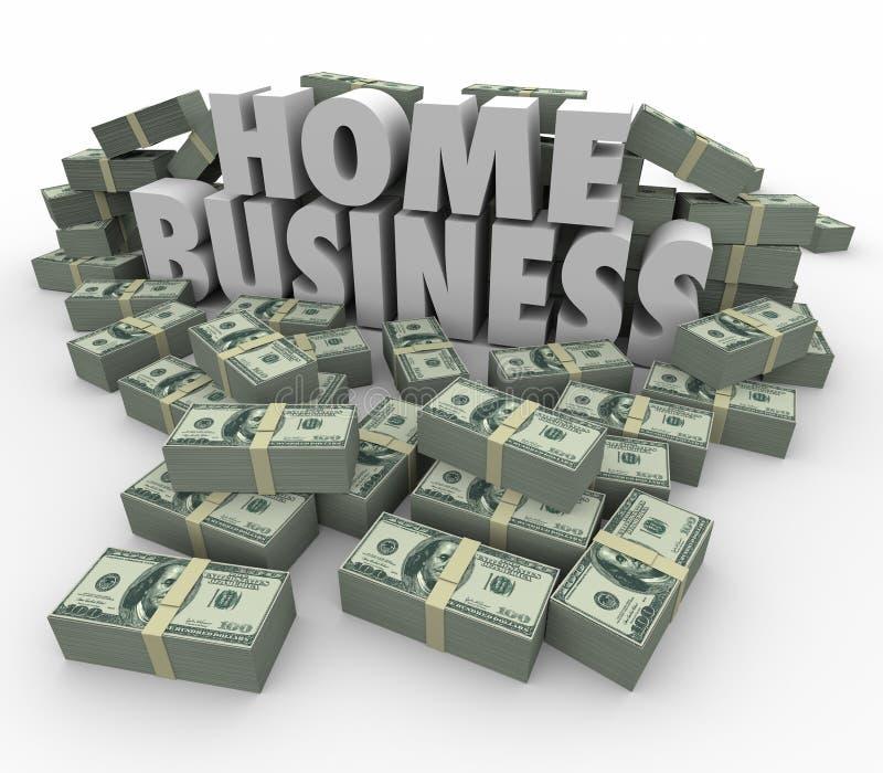 Home Business Make Money Cash Stacks Piles 3d Words. Home Business 3d words surrounded by stacks and piles of money to illustrate earning potential of starting stock illustration