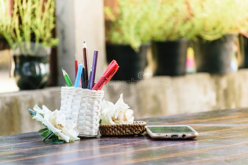 Home business working. Pencil phone put on table royalty free stock photos