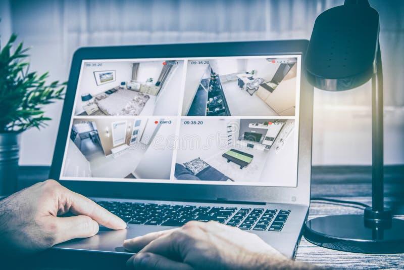 Home camera cctv monitoring system alarm smart house video stock photo