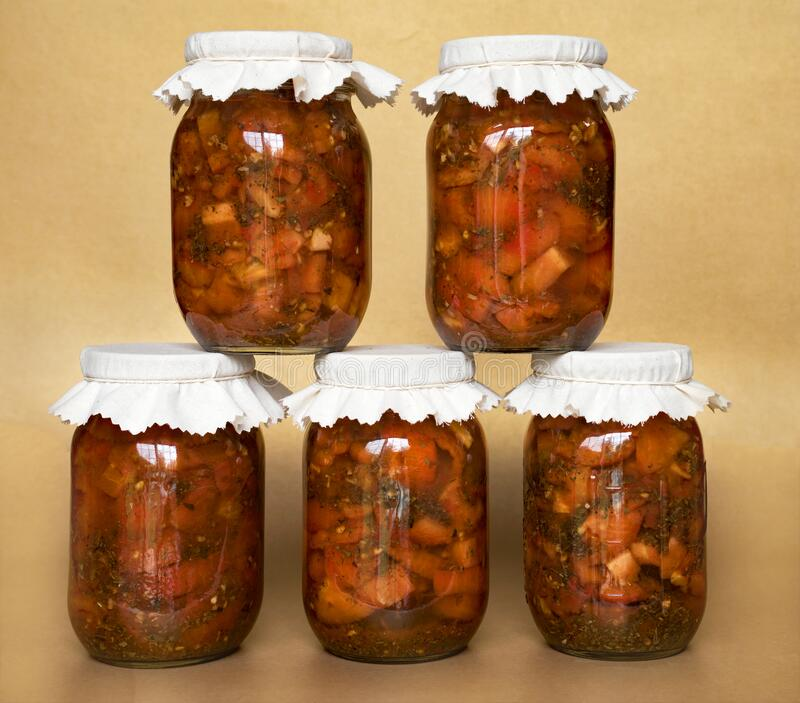 Home Canned Italian Bruschetta in A Jar royalty free stock image