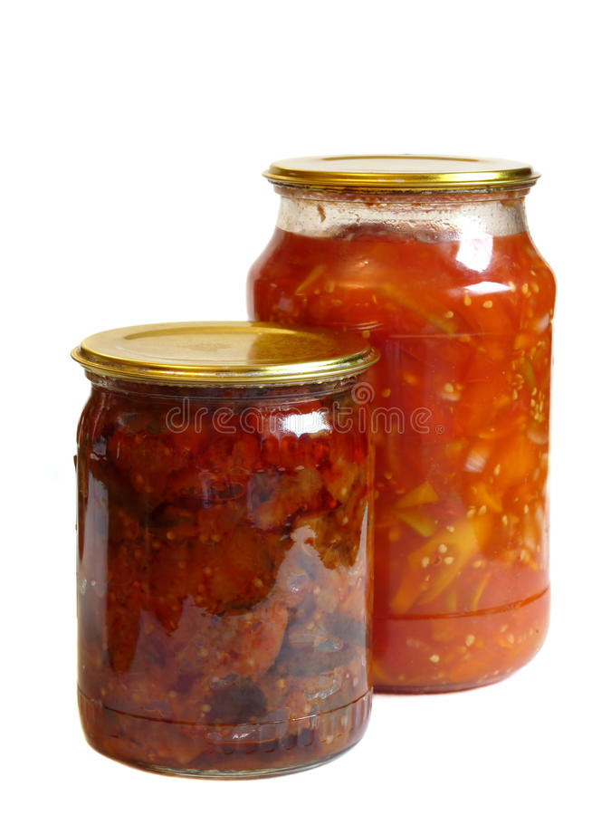 Home canning, isolated on a white. Background stock photos
