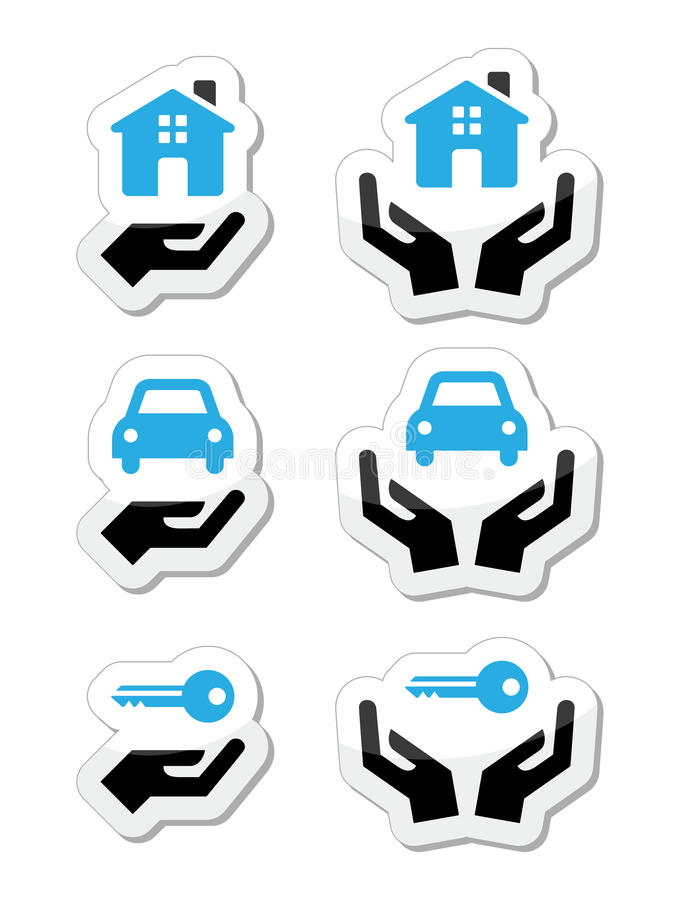 Home, car, keys with hands icons set. Vector black and blue labels set - buying car and property concept stock illustration