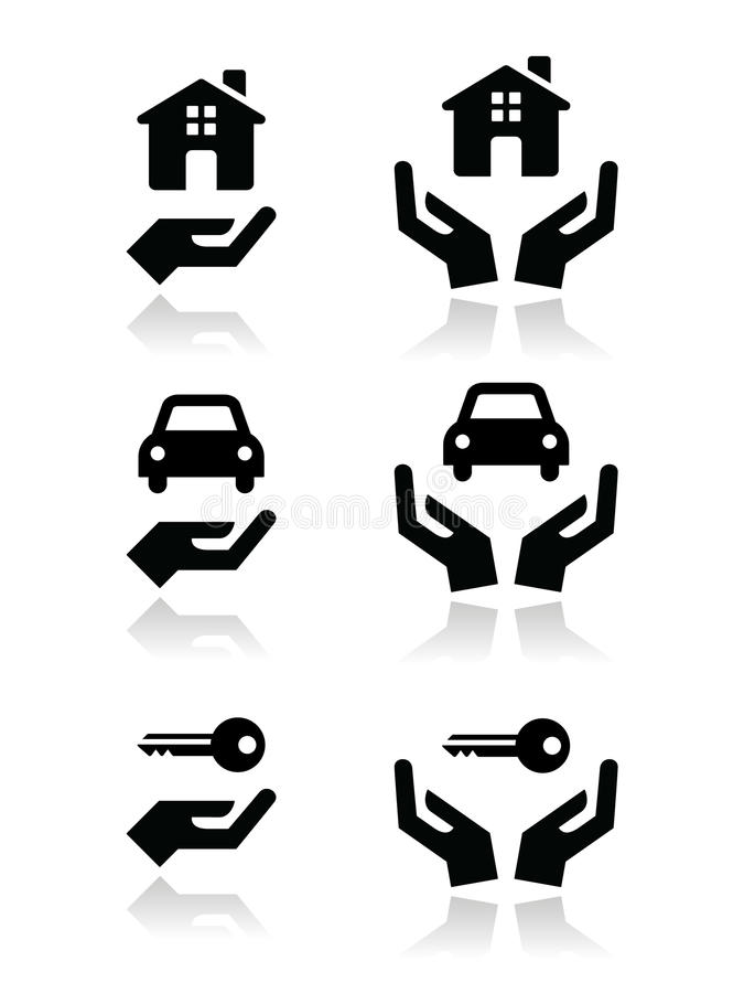 Home, car, keys with hands icons set. Vector black icons set - buying car and property concept royalty free illustration