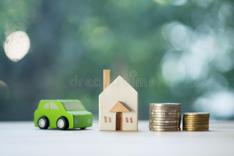 Home car loan and cost of living for investment real estate concept stock photography