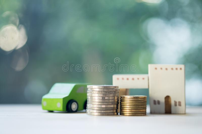 Home car loan and cost of living for investment real estate concept stock photo