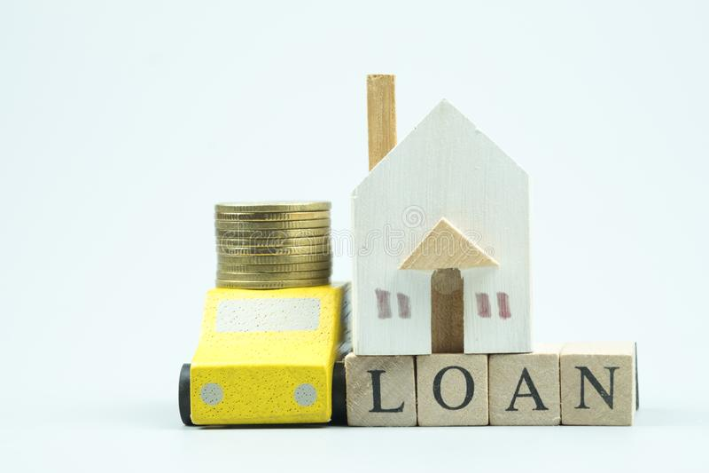 Home and car loan of living for investment real estate concept stock photography