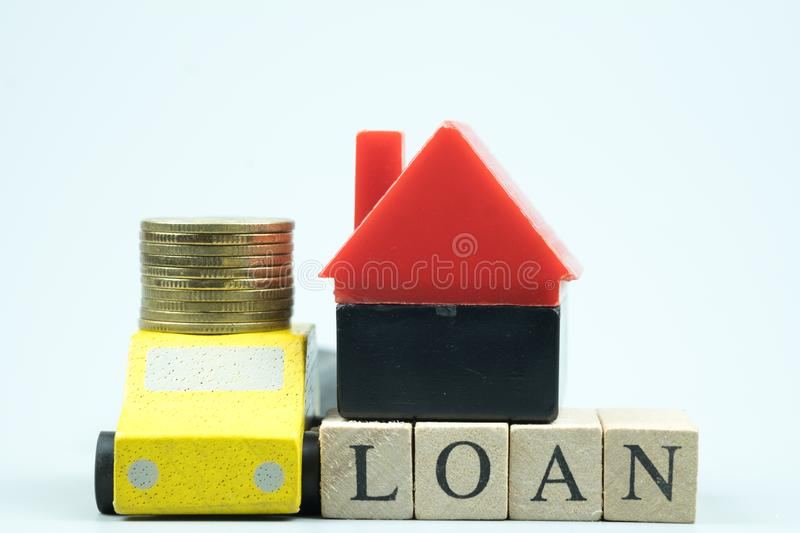 Home and car loan of living for investment real estate concept. Saving mortgage new house leasing credit in world of risk stock images