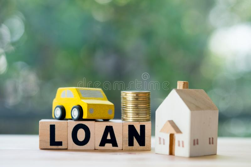 Home and car mortgage loan rate. Saving money for retirement concept stock image