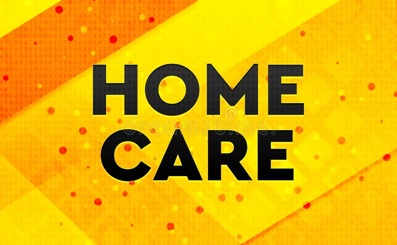 Home Care abstract digital banner yellow background stock illustration