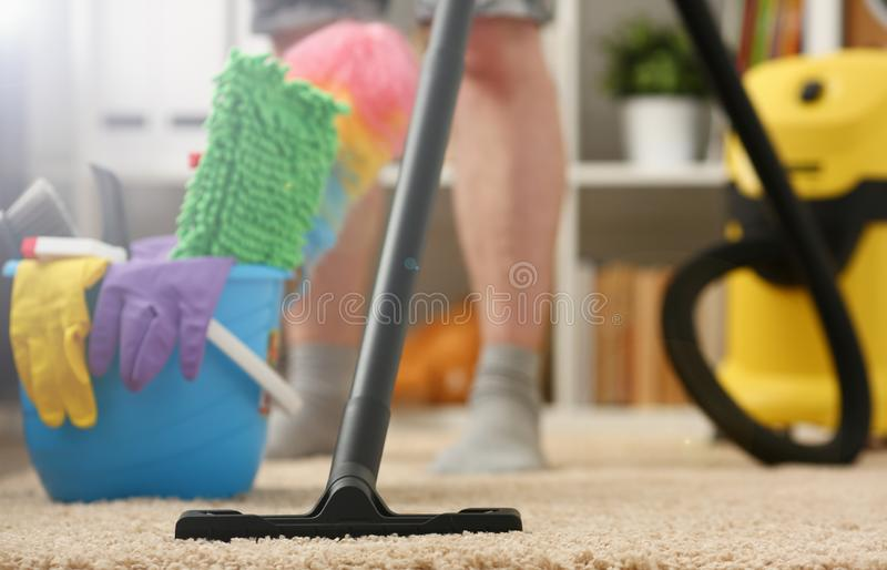 Home care for carpet vacuum cleane royalty free stock photography