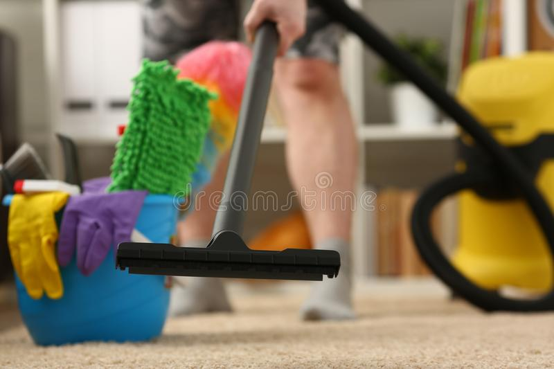 Home care for carpet vacuum cleane royalty free stock images