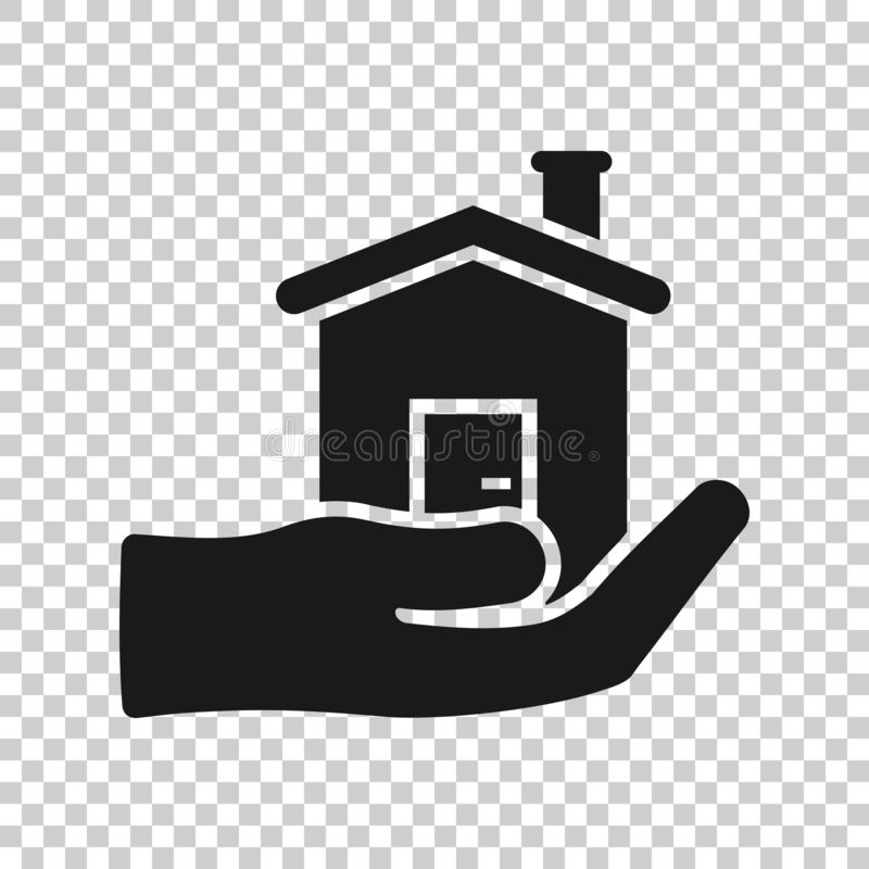 Home care icon in transparent style. Hand hold house vector illustration on isolated background. Building quality business concept vector illustration