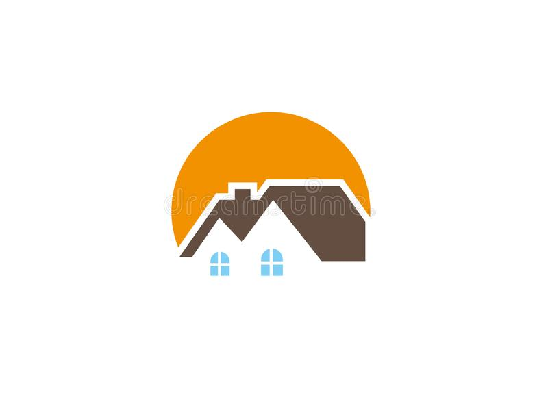 Home care logo with houses and big sun for logo design. Illustration vector illustration