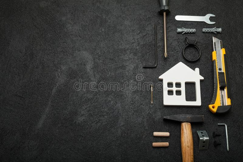 Home carpentry, do yourself. Craftsman concept, copy space for text.  stock photo