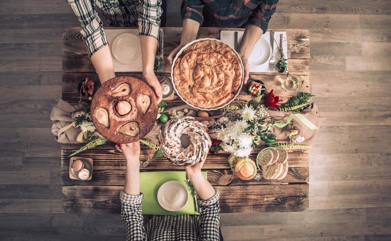 Home Celebration of friends or family at the festive table royalty free stock photography