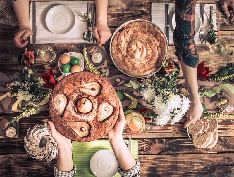 Home Celebration of friends or family at the festive table royalty free stock photos