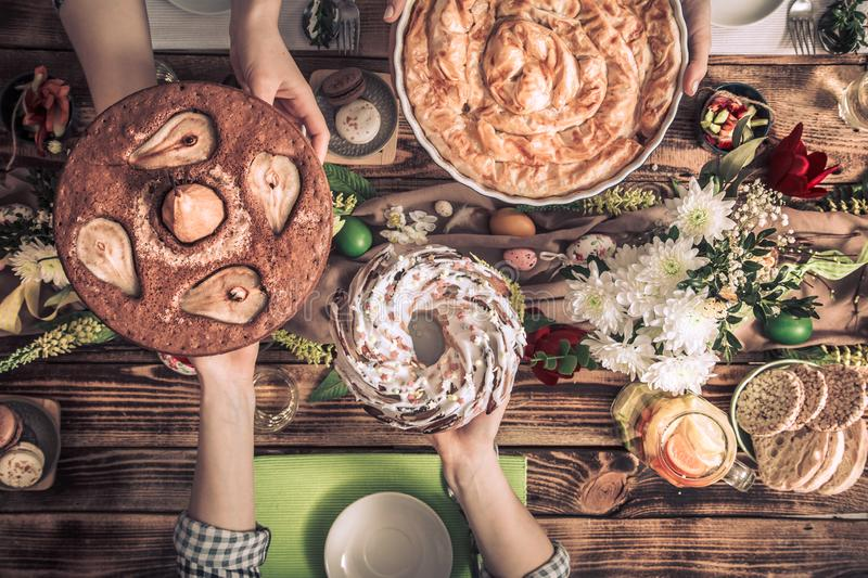 Home Celebration of friends or family at the festive table royalty free stock photo