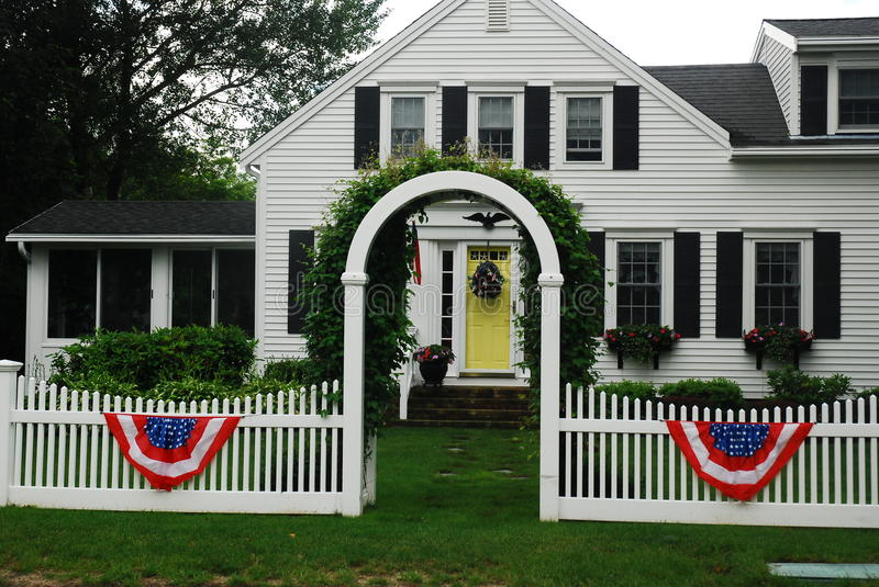 Home on the Fouth of July. A home in Chatham Massachusetts shows its patriotic side on the Fourth of July stock photography