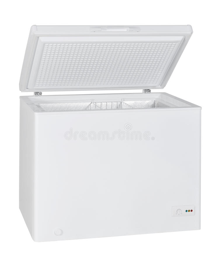 Home chest freezer. Isolated with clipping path stock images