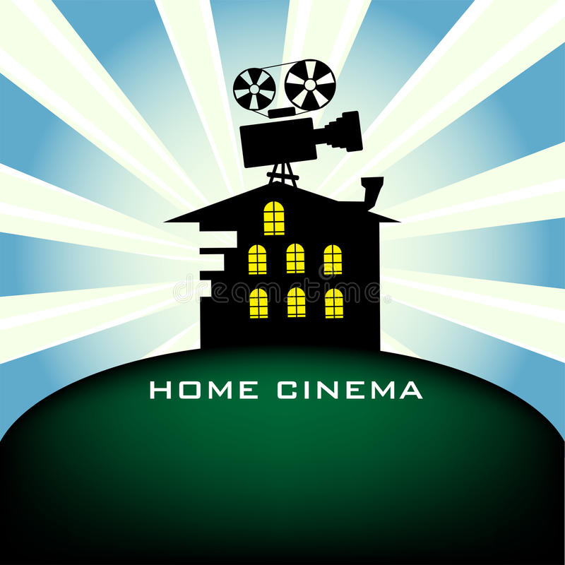 Home cinema. Colorful illustration with movie projector silhouette standing on the top of a house. Home cinema theme vector illustration