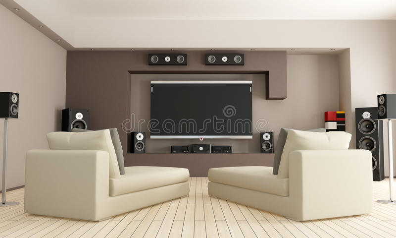 Home cinema. Elegant living room with home theatre system - rendering