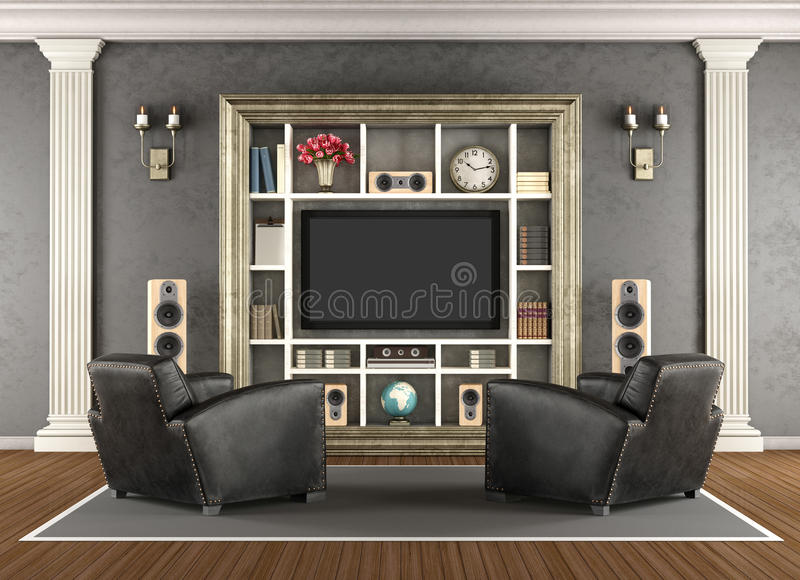 Home cinema in classic style vector illustration