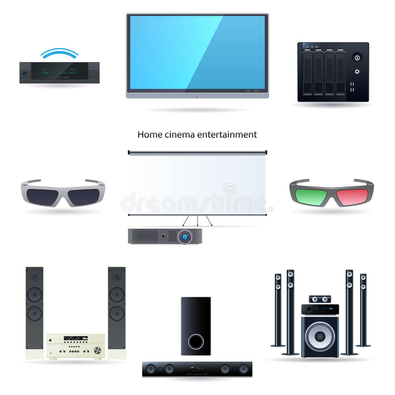 Download Home Cinema Entertainment Set Stock Illustration - Image: 34965098