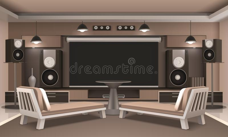 Home Cinema Interior With Round Table stock illustration