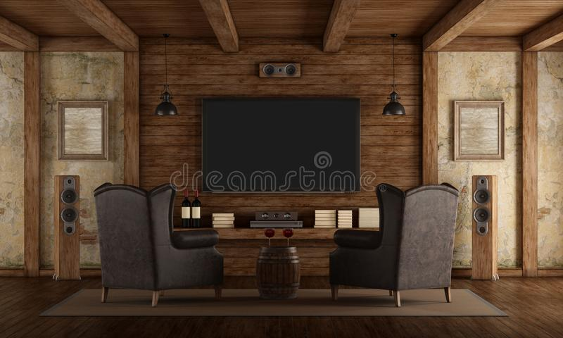 Home cinema in rustic style. With two leather classic armchairs ,old wall and wooden beams - 3d rendering stock illustration