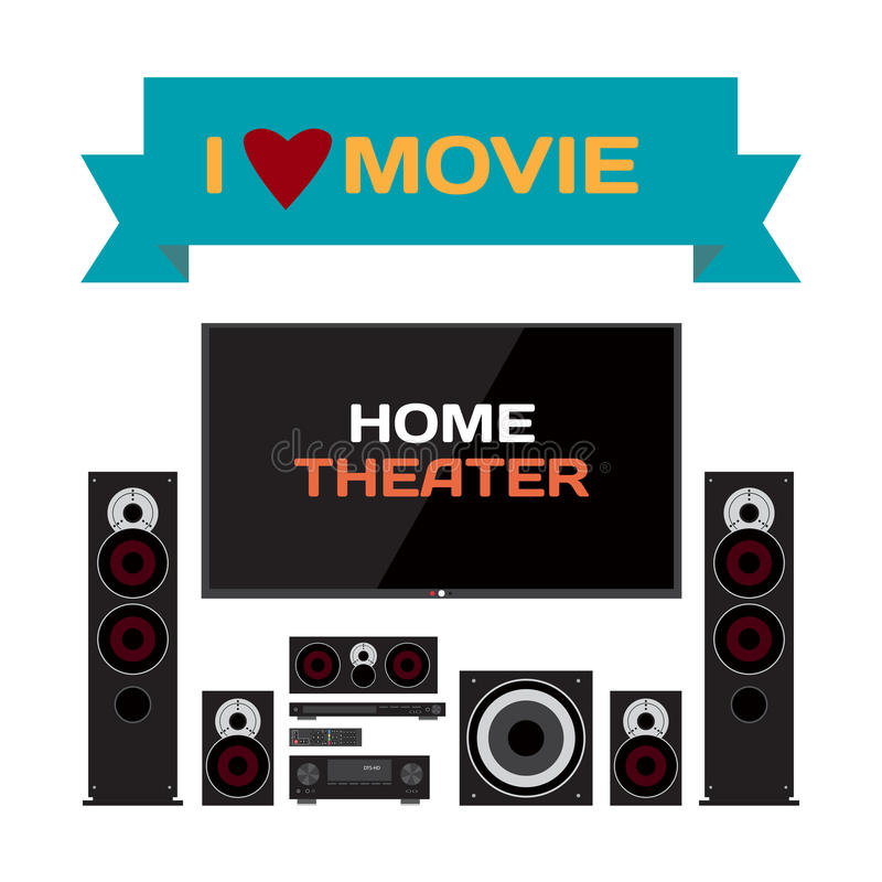 Home cinema system. Home theater flat vector illustration for mu royalty free illustration