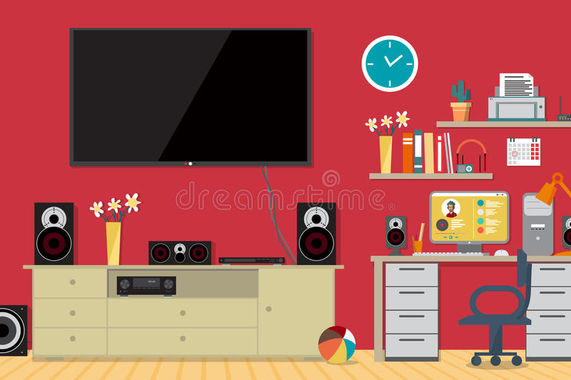 Home cinema system and workplace in interior room royalty free illustration