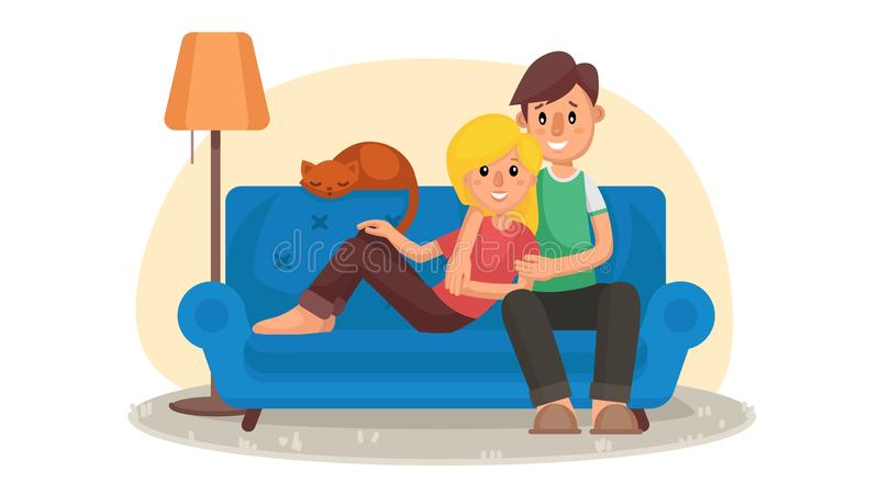 Home Cinema Vector. Home Room With TV Screen. Using Television Together. Online Home Movie. Cartoon Character royalty free illustration