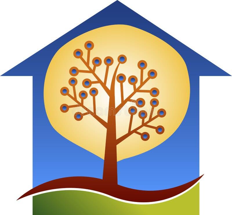 Home circuit tree logo royalty free illustration