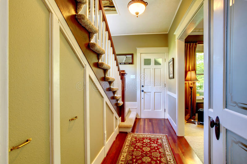 Home classsic decor hallway with entrance front door. royalty free stock image