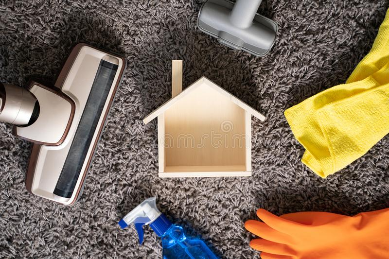 Home cleaning concept with supplies Cleaner At Home royalty free stock photo