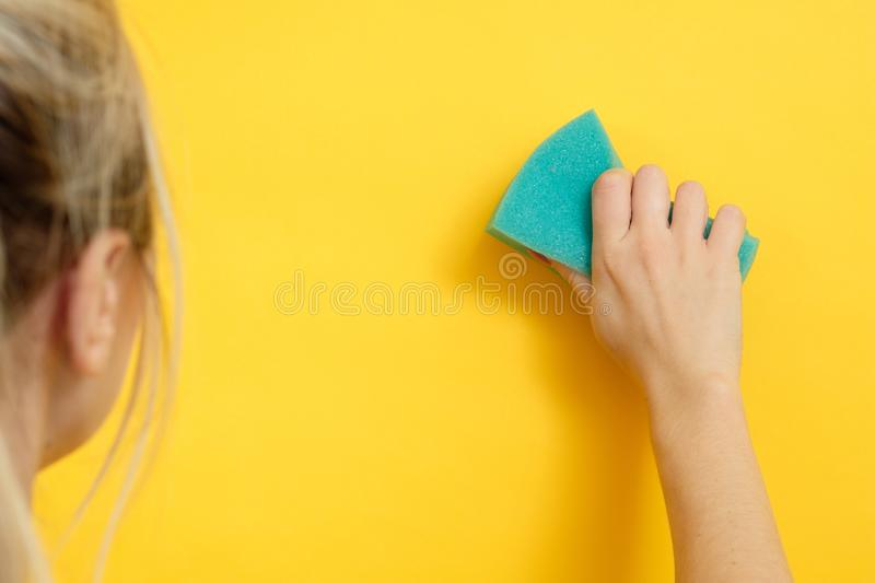 Home cleaning safe super clean woman wipe stock photography