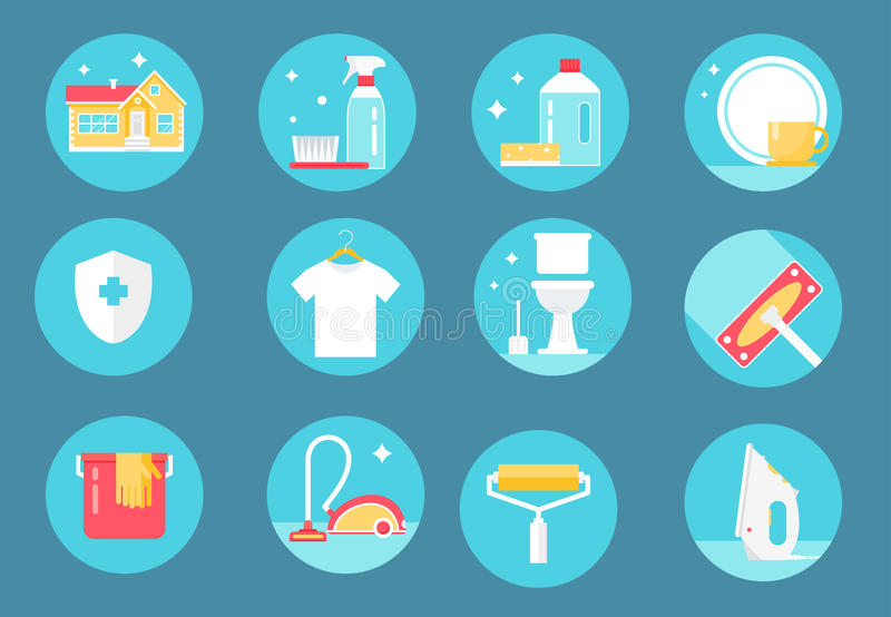 Home Cleaning Service, Agents and Tools Icons. Flat Design stock illustration