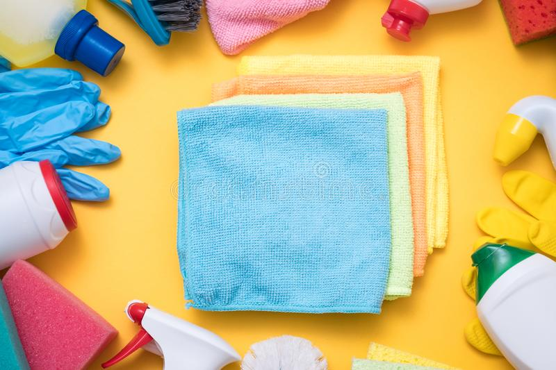 Home furniture cloth dust polish cleaning products royalty free stock images