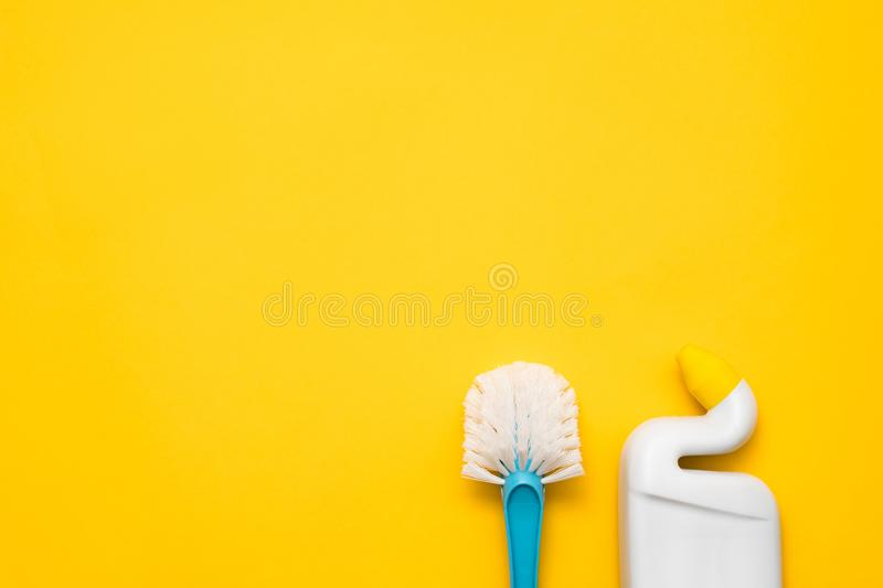 Home cleanup toilet cleaning kit copy space stock photography