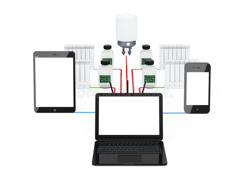 Home Climate Control System Wireless Controlled by Laptop, Table stock illustration