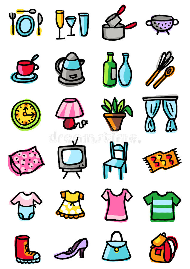 Download Home and clothing icons stock vector. Image of television - 2610212