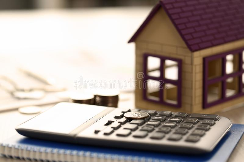 Home Coins Real Estate Property Loan Sale Concept stock image